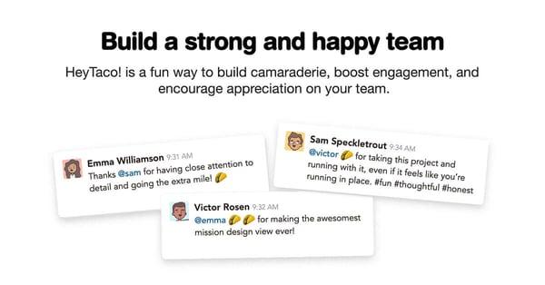 hey taco! engagement app for Slack & Microsoft Teams